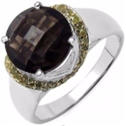 Sterling Silver Smoky Topaz and Yellow Diamond Ring