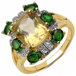 Sterling Silver Golden Citrine and Chrome-Diopside Ring