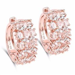 Sterling Silver Morganite and Diamond Earrings