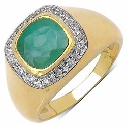 Sterling Silver Checkerboard  Sakote Emerald Ring