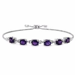 Sterling Silver African Amethyst Adjustable Bracelet