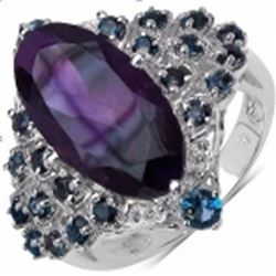 Sterling Silver African Amethyst and London Blue Topaz Ring