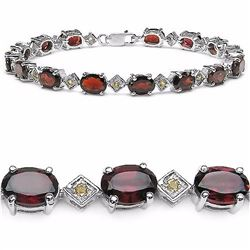 Sterling Silver Garnet and Citrine Bracelet