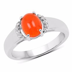 Sterling Silver Cabochon Orange Opal Ring