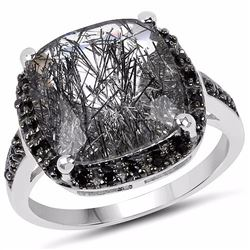 Sterling Silver Black Rutile and Black Spinel Ring
