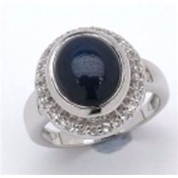 Sterling Silver Cabochon Star Sapphire Ring