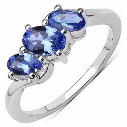Sterling Silver Tanzanite 3 Stone Ring