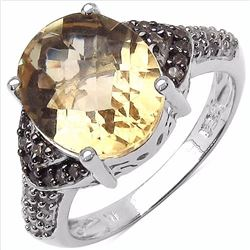 Sterling Silver Citrine and Champagne Diamond Ring