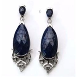 Sterling Silver Sapphire Briolite Drop Earrings