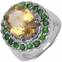 Sterling Silver Citrine and Chrome-Diopside Ring