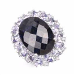 Sterling Silver Checker Board Sapphire and Tanzanite Ring