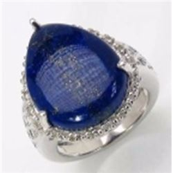 Sterling Silver Cabochon Lapis Ring