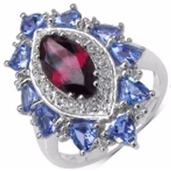 Sterling Silver Rhodolite and Tanzanite Ring