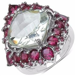 Sterling Silver Green Amethyst and Rhodolite Ring