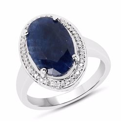 Sterling Silver Madagascar Sapphire and Diamond Ring