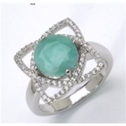 Sterling Silver Sakata Emerald Ring