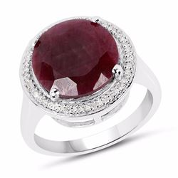 Sterling Silver Indian Ruby and Diamond Ring