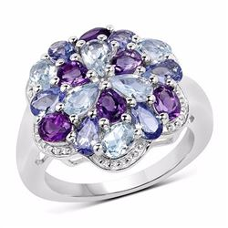Sterling Silver Blue Topaz and African Amethyst Ring