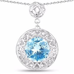 Sterling Silver Fancy Cut Swiss Blue Topaz Pendant