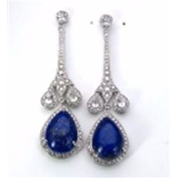Sterling Silver Lapis Drop Earrings