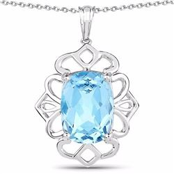 Sterling Silver Fancy Cushion Blue Topaz Pendant
