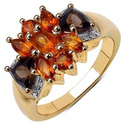 Sterling Silver Madeira Citrine and Smoky Quartz Ring