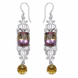 Sterling Silver African Amethyst and Citrine Earrings