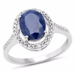 Sterling Silver Indian Blue Sapphire Ring