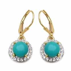 Sterling Silver Cabochon Turquoise Earrings