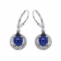 Sterling Silver Cabochon Tanzanite Earrings