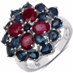 Sterling Silver Thai Ruby and Blue Sapphire Ring