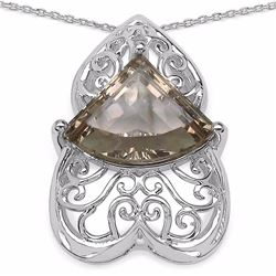 Sterling Silver Fancy Cut Smoky Quartz Pendant