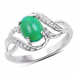 Sterling Silver Cabochon Green Opal Ring