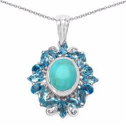 Sterling Silver Cabochon Turquoise and Swiss Blue Topaz Pendant