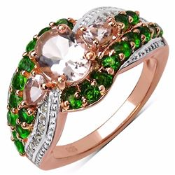Sterling Silver Morganite and Chrome-Diopside Ring