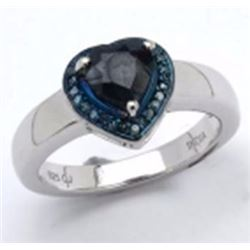 Sterling Silver Heart Shape Sapphire and Diamond Ring