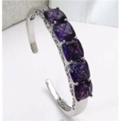 Sterling Silver African Amethyst Bangle Bracelet