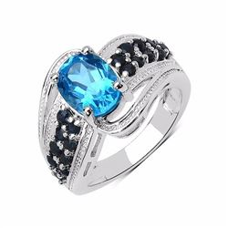 Sterling Silver Swiss Blue Topaz and Blue Sapphire Ring