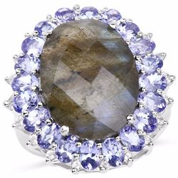Sterling Silver Checkerboard Laboradorite and Tanzanite Ring