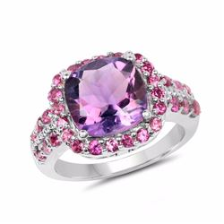 Sterling Silver Brazil Amethyst and Rhodolite Ring