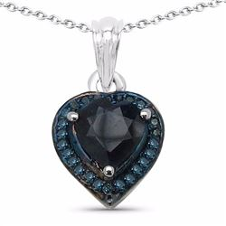 Sterling Silver Heart Shape Sapphire and Diamond Pendant