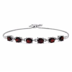 Sterling Silver Garnet Adjustable Bracelet