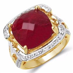 Sterling Silver Checkerboard Ruby Ring