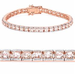 Sterling Silver Morganite Tennis Bracelet