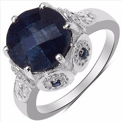 Sterling Silver Checkerboard Sapphire Ring