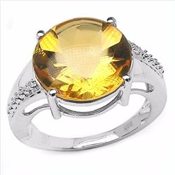 Sterling Silver Buff Top Citrine Ring