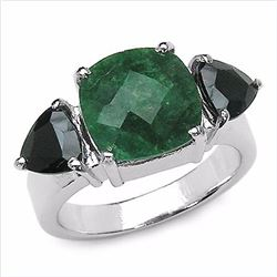 Sterling Silver Checkerboard Emerald and Black Sapphire Ring
