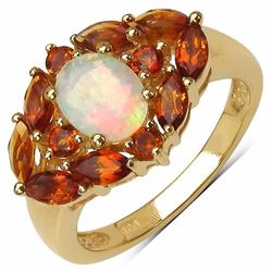 Sterling Silver Ethiopian Opal And Madeira Citrine Ring