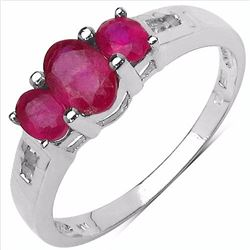 Sterling Silver Ruby 3 Stone Ring