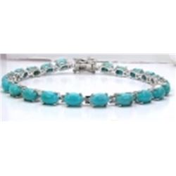 Sterling Silver Cabochon Turquoise Bracelet